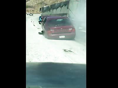 Car Dragged By Trucker