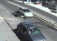 Motorcyclists Head vs. Car Wheel