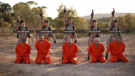 children executing five Kurdish fighters using handguns