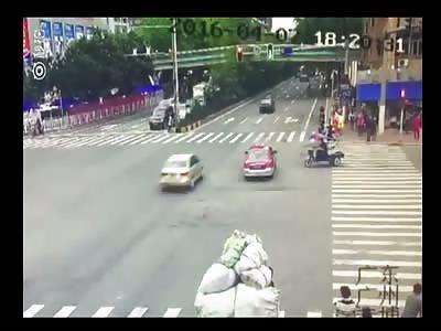 MAN IS RUN OVER AND FLIES AWAY