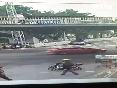 Woman jumps off Bridge.