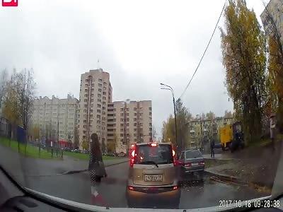 SUV knocked down prety girl