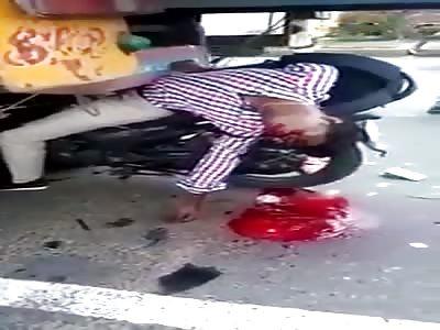 Dead motorcyclist