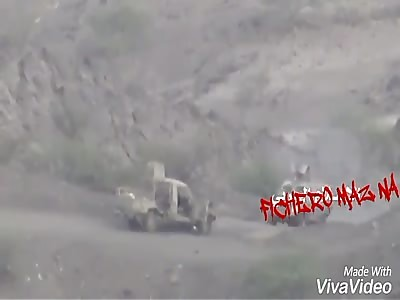 Back to Back ATGM Hits on Saudi Military Vehicles