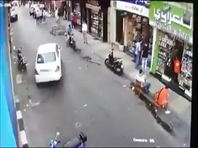 Man sitting is run over