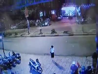 Girl Crossing the Street Gets Brutally Hit By Speeding Rider