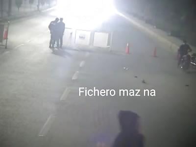 Policemen go airborne as car hits checkpost