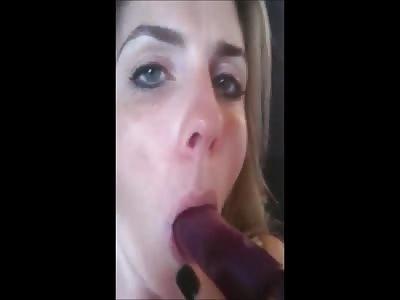 Horny Blonde MILF Ass Fucks Herself Then Sucks The Vibe Clean