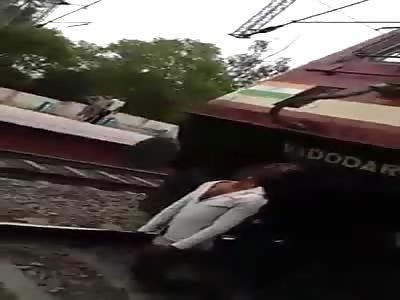 WTF Man impaled on moving train