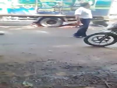 man crushed truck