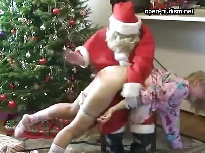 Santa Spanks This Sluty Little Teens Ass…