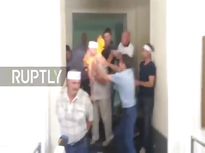 Ukrainian miner on hunger strike attempts self-immolation
