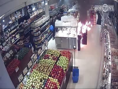Raw video: Surveillance shows Molotov cocktail thrown into Brooklyn supermarket