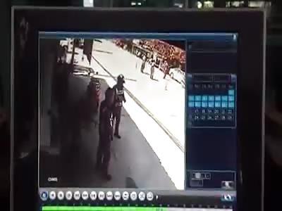 No brakes Crash - police volunteer being crushed (skip to :38)
