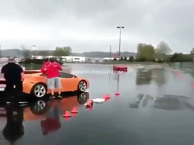 Dude In A Ferrari Crash Into A Lamborghini