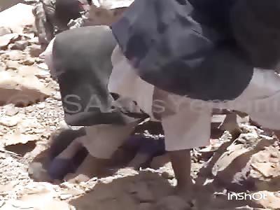 Woman gets stuck after Saudi air raid