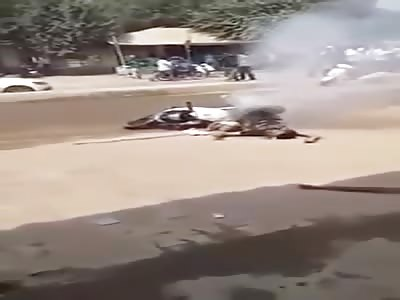 Man electrocuted on a motorbike