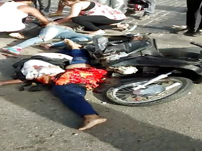 Horrible accident biker crash by truck