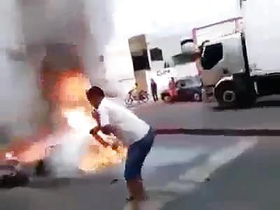 biker accident Man Burning i live