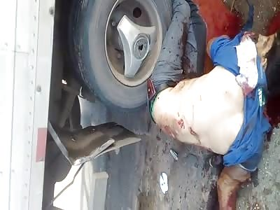 Man crash by truck