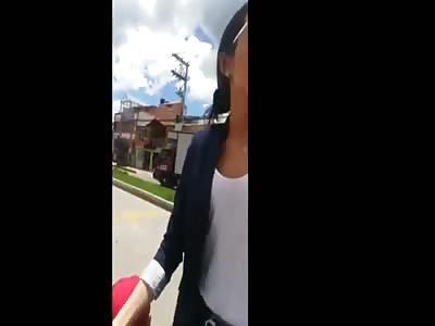 woman filming own tram hit in traffic fight