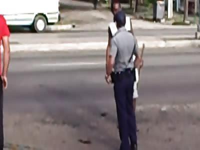 CUBAN POLICE ARREST DRUNK THAT KICKED DOG