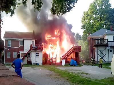 Lexington Fire Department attacking house fire