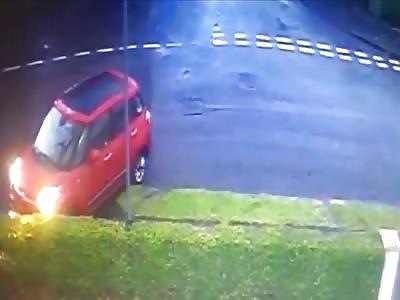 three vehicles crashing into same house