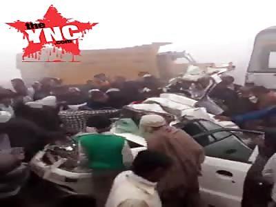 massive pile up  involving 20 vehicles