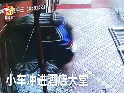 SUV crashed straight
