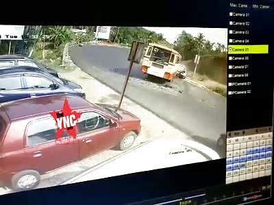 Karnataka State Road Transport Corporation bus vs police car accident