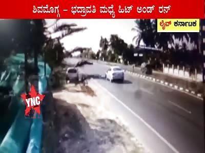 Hit And Run at Shivamogga Bhadravathi Highway near Harige