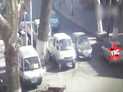 a  big tree crushed a man in his vehicle in henan zhengzhou