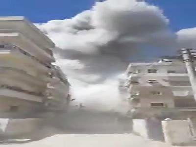 Devastation after Russian airstrike in Ariha, Idlib
