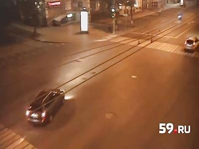 High Speed Bikers Crash Into Car.