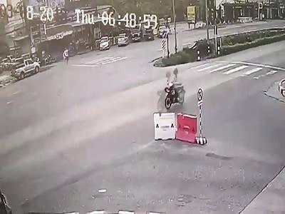 Female scooter rider kills man on zebra crossing.