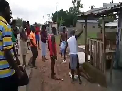 Thief beaten with sticks