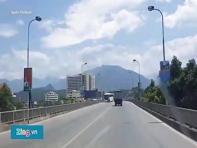 Motorcyclist slams straight into a coach