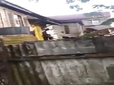 Man attacks his neighbor with a machete