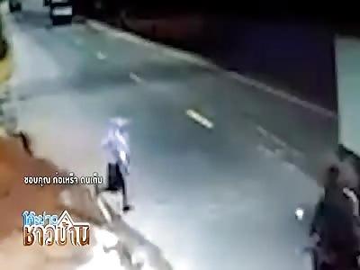 Schoolgirl run over by a motorcyclist both go flying