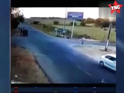 Boy is sent flying by a car