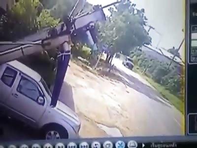 Motorcyclist smashes into a car