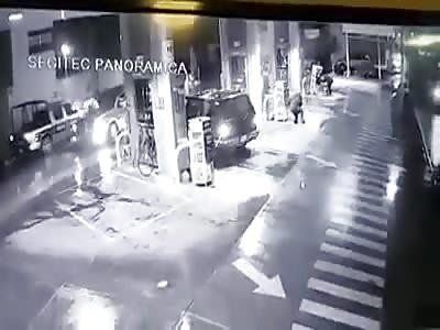 Gang Shoot up Police Car and Kill Customer at a Gas Station
