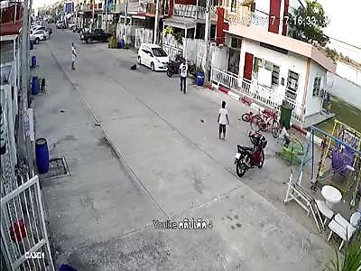Man Brutally Kicks Child then Gets Karma