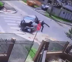 Biker Sent into Somersault in Horrific Crash