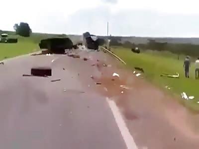 Accident between trucks on highway