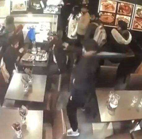 CCTV from Restaurant in Paris Showing Machete Attack on Sri Lankan Man