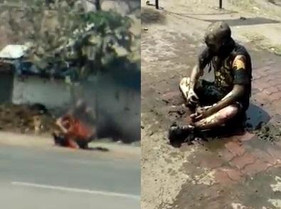 51 Year old man burn himself in public