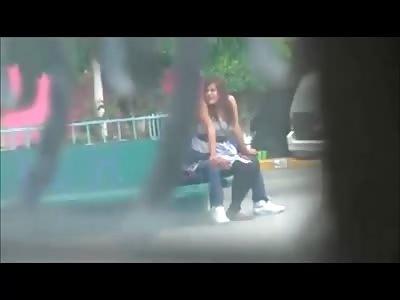 Happy Couple Having Sex in Public Place