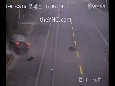 Red Light Runner Kills Pedestrian Crossing the Street in Brutal Fashion